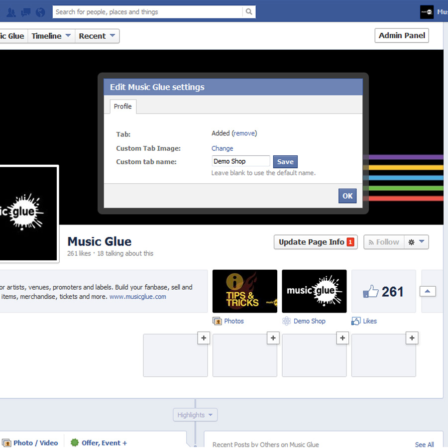 Customise the tab on your Facebook page